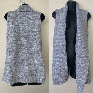 Loft Grey Knit Open Sweater Vest